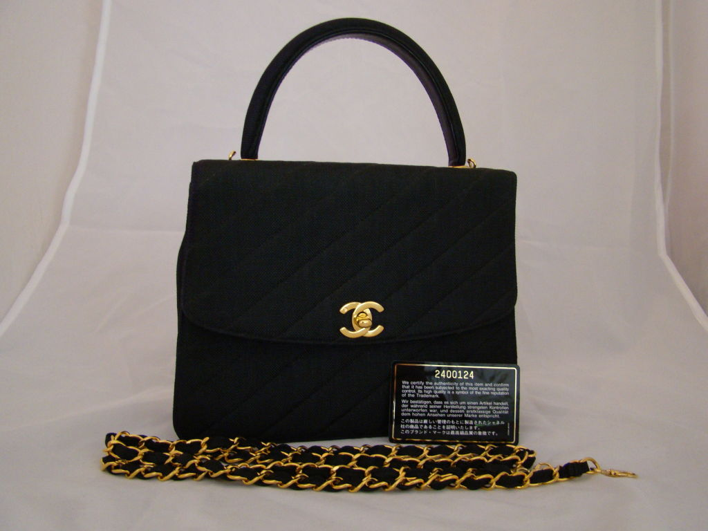 Chanel Black Linen Kelly Bag 7