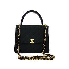 Chanel Black Linen Kelly Bag