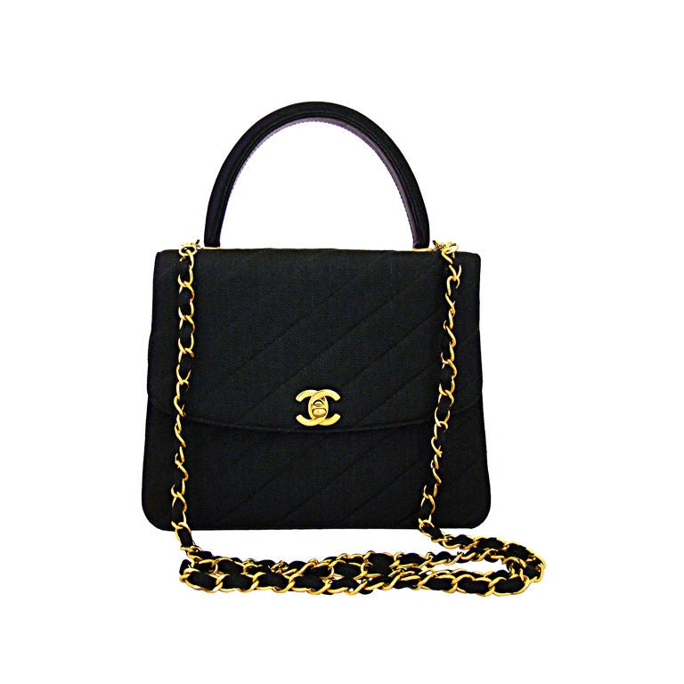 Chanel Black Linen Kelly Bag 1