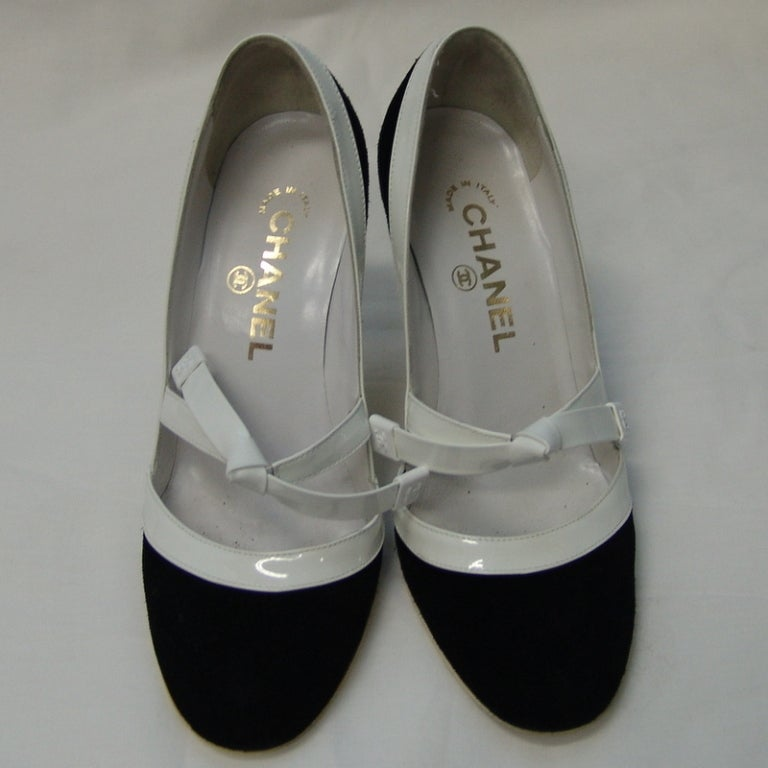 Chanel Black Suede and White Patent Leather Shoes 2
