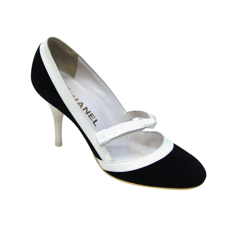 Chanel Black Suede and White Patent Leather Shoes
