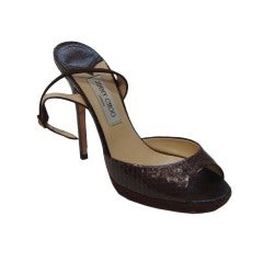 Jimmy Choo Brown Snake Skin and Suede Shoes