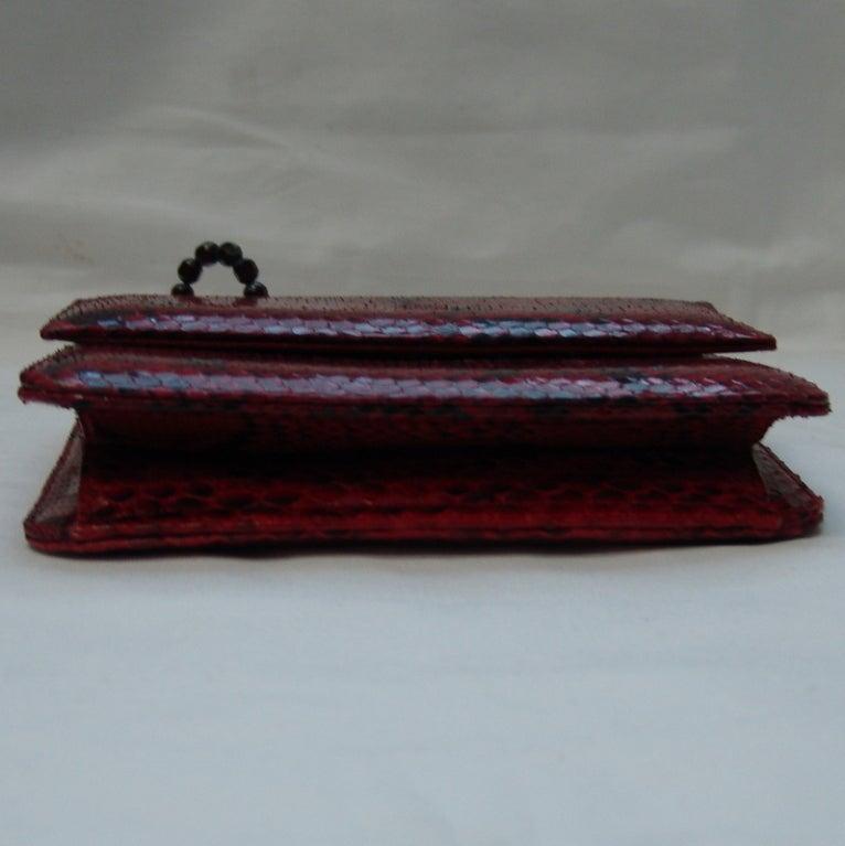 Darby Scott Red and Black Snake Skin Handbag 3