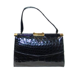 Vintage Vassar Black Alligator Handbag
