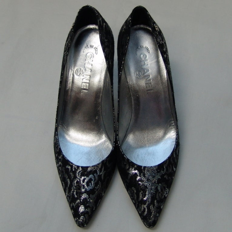 Chanel Black and Silver Material Shoes 2