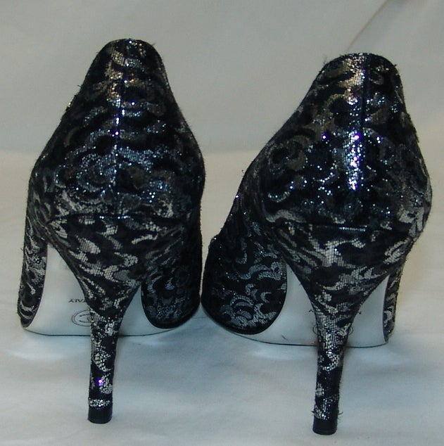 Chanel Black and Silver Material Shoes 3
