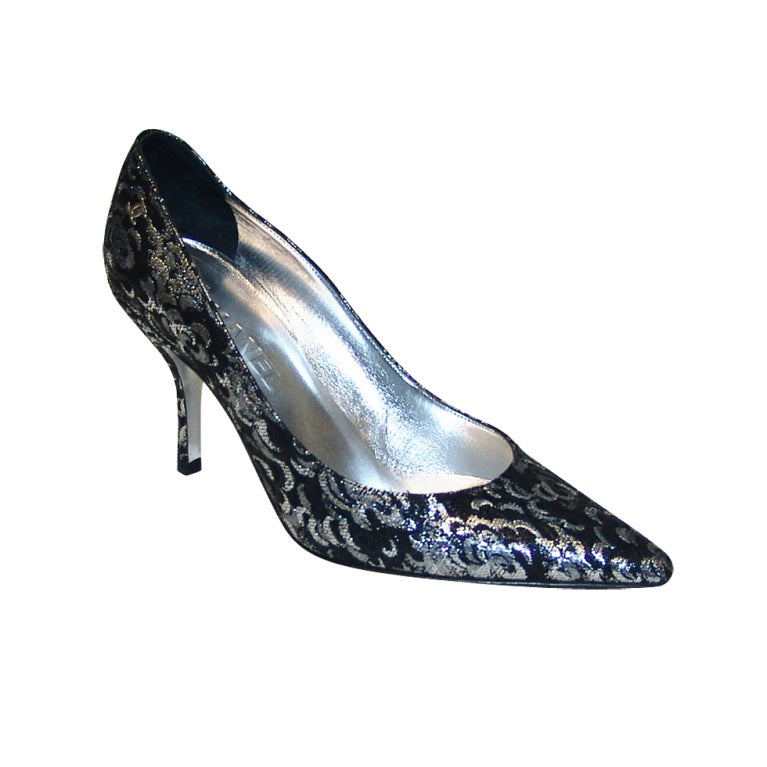 Chanel Black and Silver Material Shoes 1