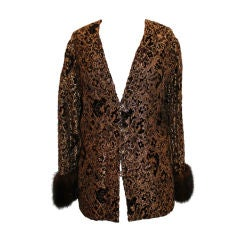 """Vintage Brown and Gold Cut Velvet jacket with 4"""" Mink Cuffs"""