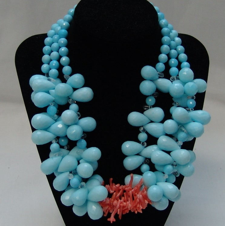 Helga Wagner Aqua and Coral Necklace image 2