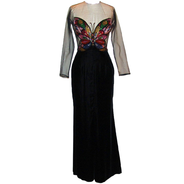 vintage oscar de la renta black velvet dress at 1stdibs
