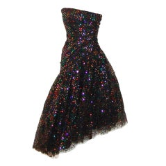 Scaasi Vintage Asymmetrical Black Tulle and multi sequin Dress-4-Circa 80's