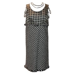 Chanel Black & White with Red Detail Houndstooth Dress - 44