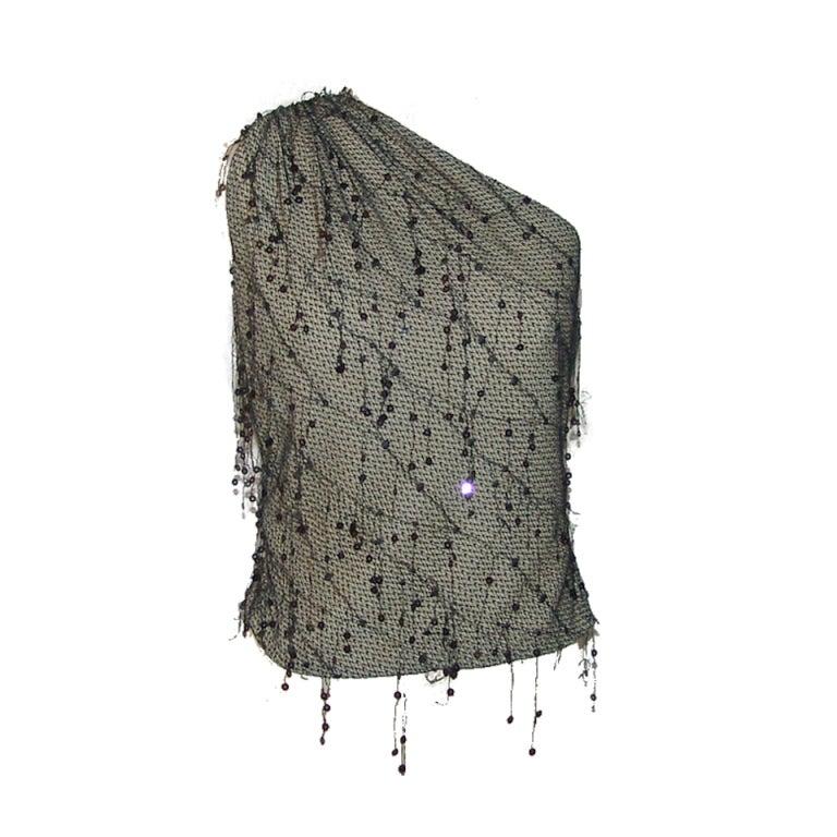 Douglas Hannant Black Lace and Sequin Top