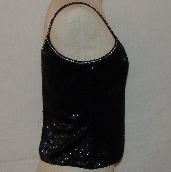 Giorgio Armani Black Fully Beaded Top w/ rhinestone detail - S In Good Condition For Sale In Palm Beach, FL