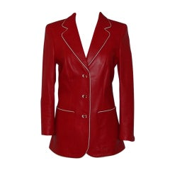 Escada Red Leather Jacket with White Leather Piping