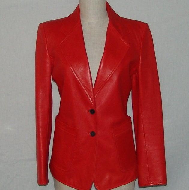 YSL Red Leather Blazer 2