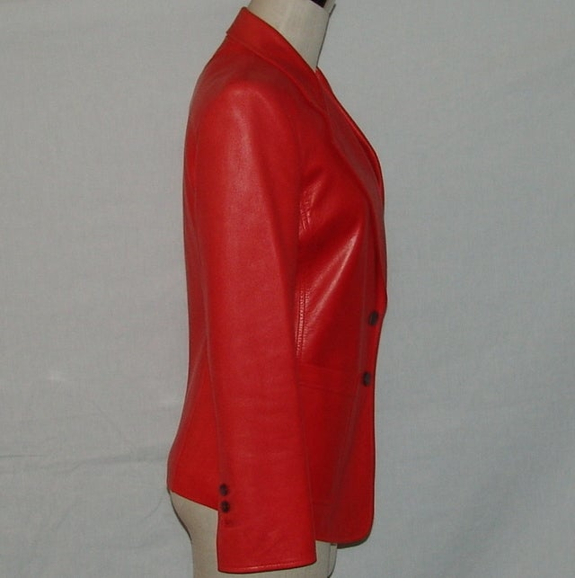 YSL Red Leather Blazer 3