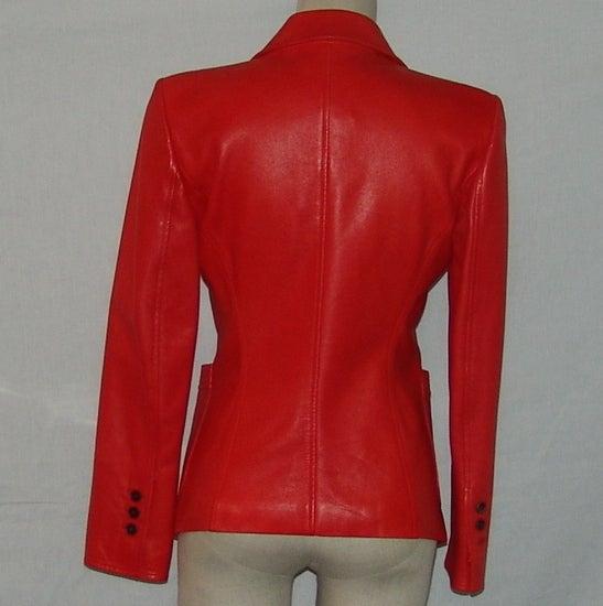 YSL Red Leather Blazer 4