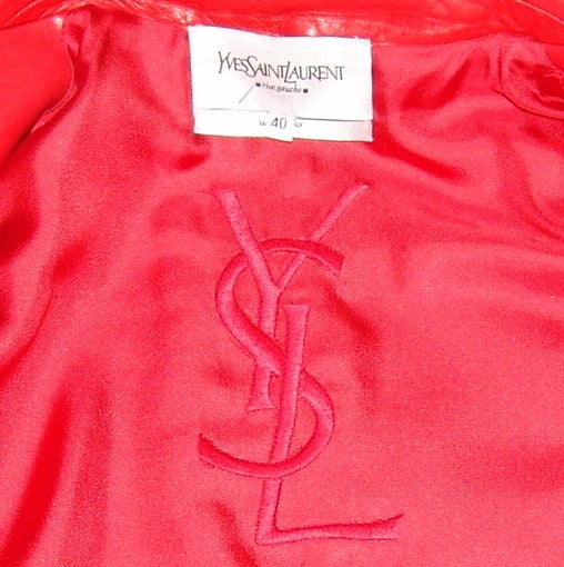 YSL Red Leather Blazer 5