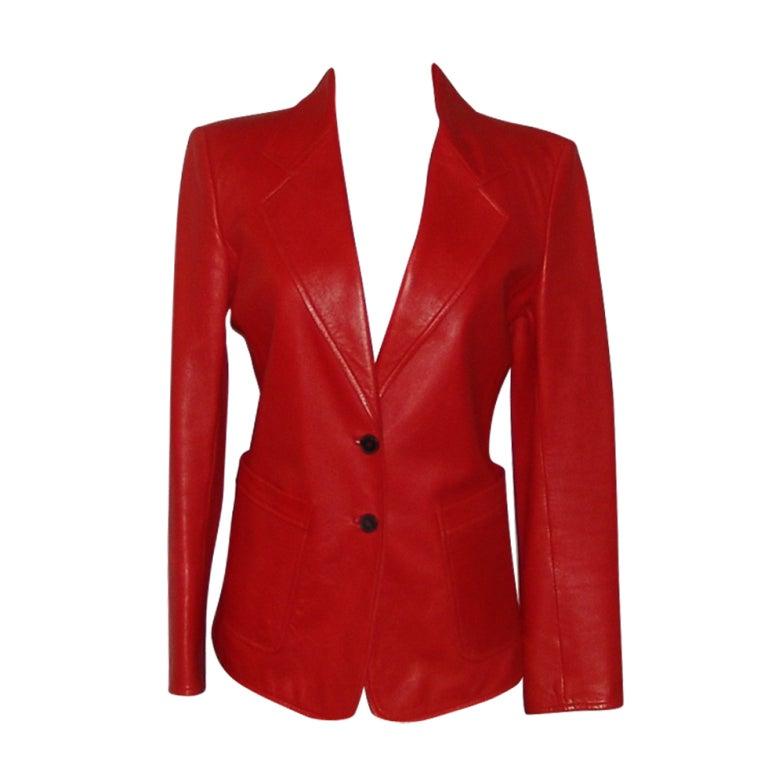 YSL Red Leather Blazer 1