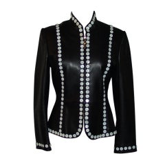 St. John Black Leather Jacket with White Button Detail