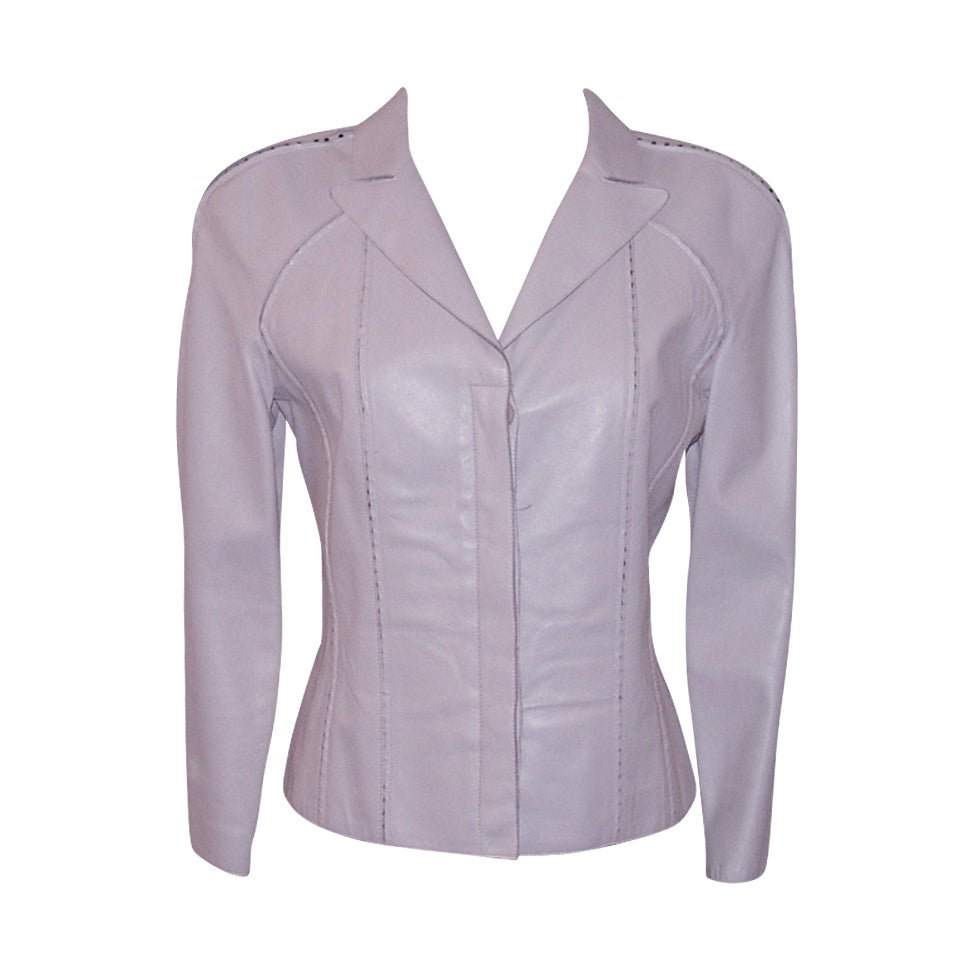 Valentino Light Lavender, Soft Calf Leather Jacket