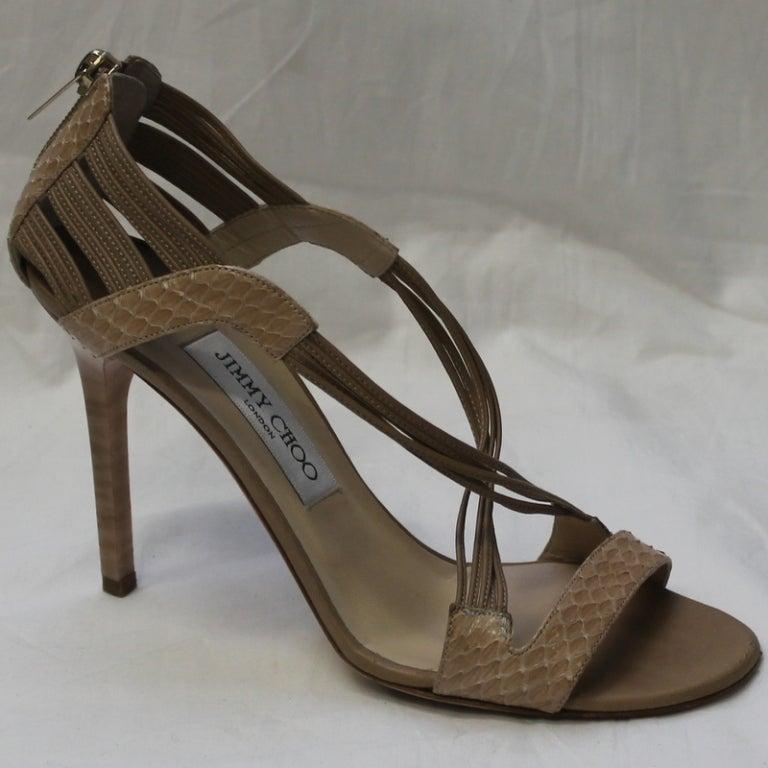 Jimmy Choo Beige Snake Skin Shoes 2