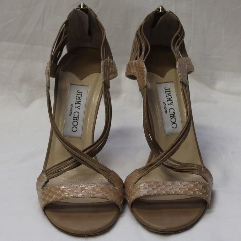 Jimmy Choo Beige Snake Skin Shoes 3