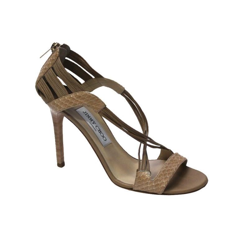 Jimmy Choo Beige Snake Skin Shoes 1