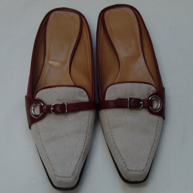 hermes canvas and leather shoes at 1stdibs