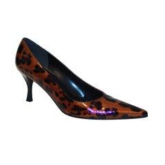 Stuart Weitzman Patent Leather Leopard Print Shoes