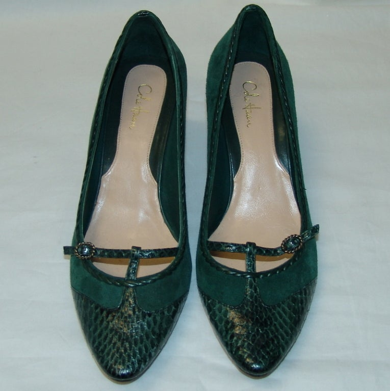 Cole Haan Green Suede And Snake Skin Shoes At 1stdibs