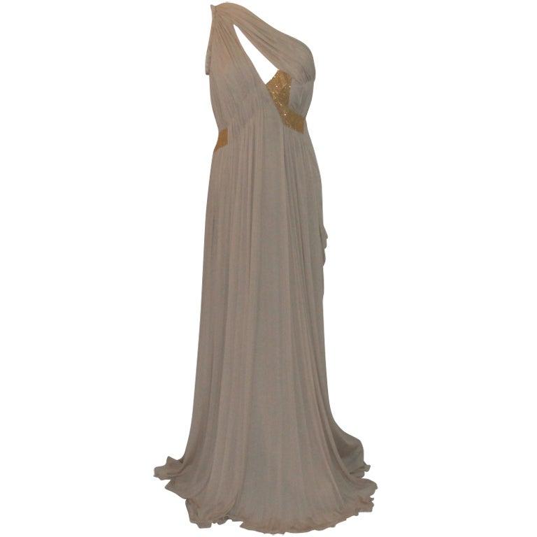 Alberta Feretti Nude Silk Gown
