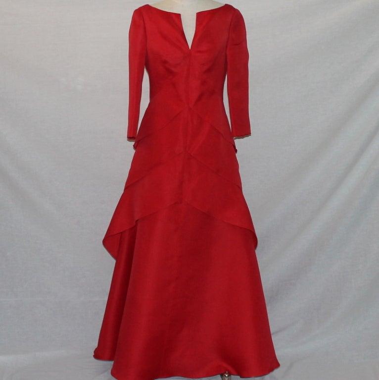 Angel Sanchez Red Organza Ball Gown 2