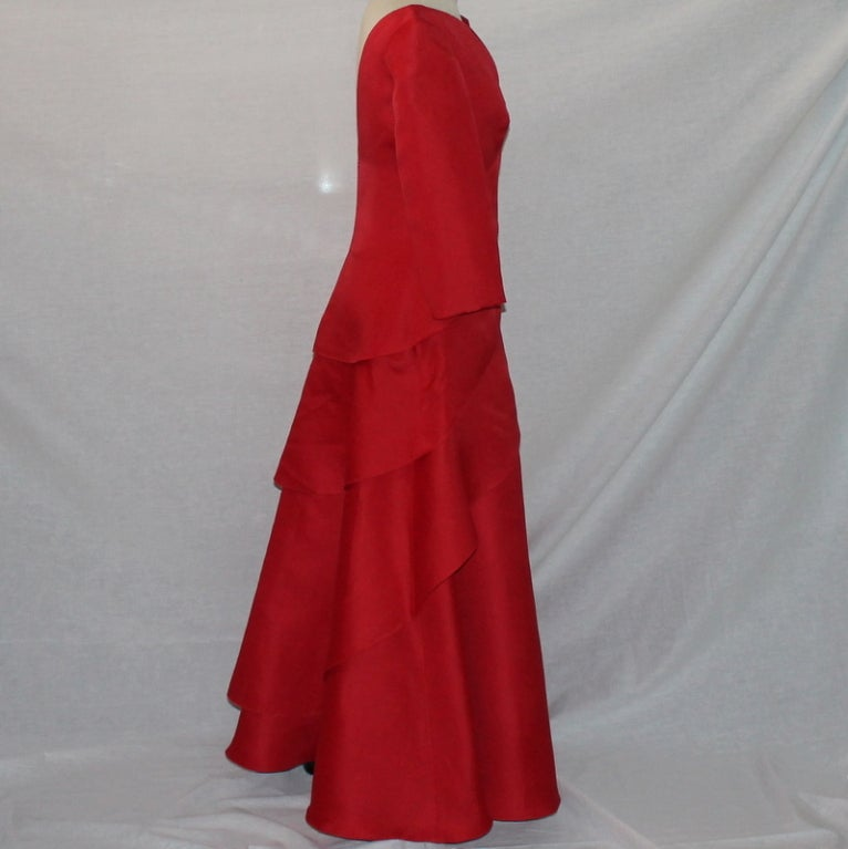 Angel Sanchez Red Organza Ball Gown 3