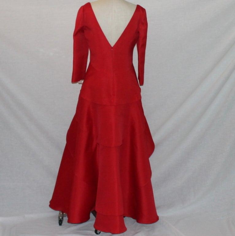 Angel Sanchez Red Organza Ball Gown 4