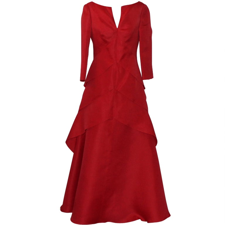 Angel Sanchez Red Organza Ball Gown