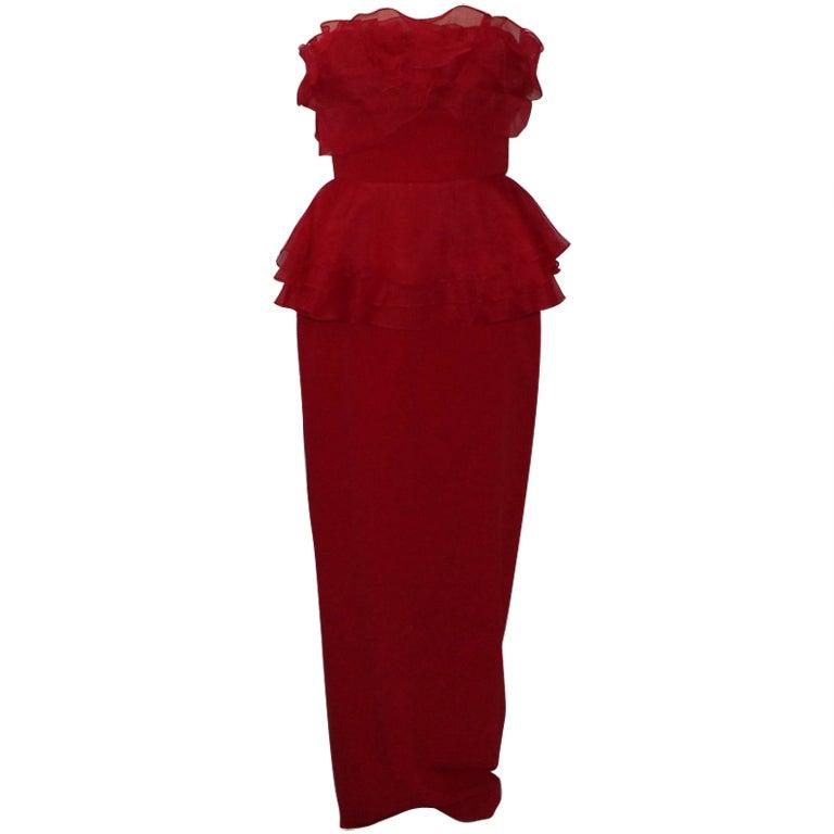 Marchesa Red Silk Strapless Gown - 10 - circa 90's