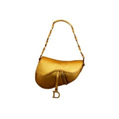 Christian Dior Gold Embossed Leather Saddle Bag
