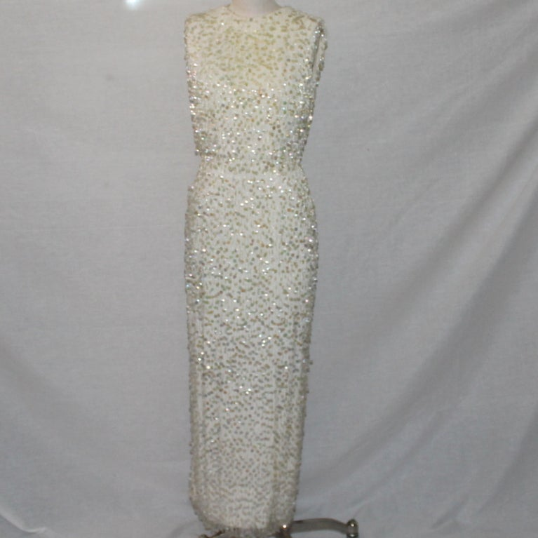 Vintage Creme Silk Beaded and Paillettes Gown - XS - Circa 60's 2