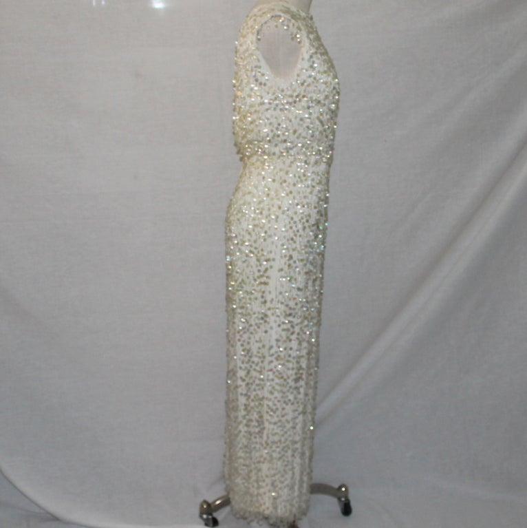 Vintage Creme Silk Beaded and Paillettes Gown - XS - Circa 60's 3