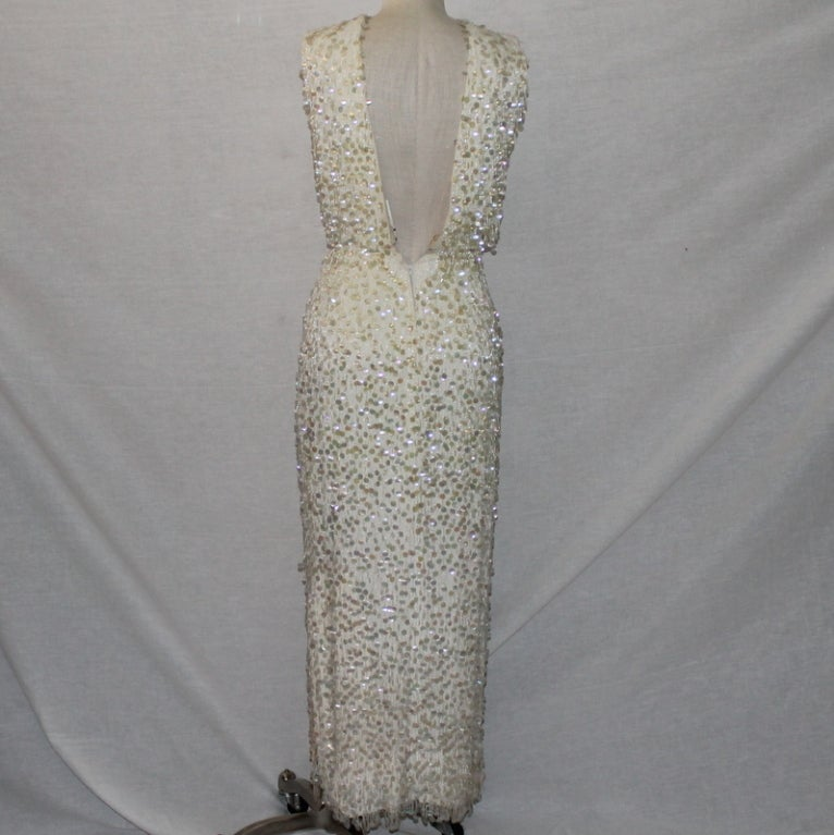 Vintage Creme Silk Beaded and Paillettes Gown - XS - Circa 60's 4