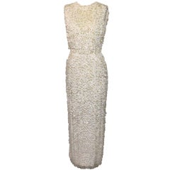 Vintage Creme Silk Beaded and Paillettes Gown - XS - Circa 60's