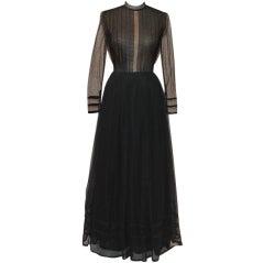 Pauline Trigere Black Point d'esprit Gown - size 10 - Circa 70's