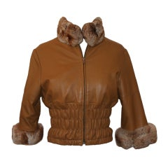 Unknown Leather Jacket with Chinchilla Fur