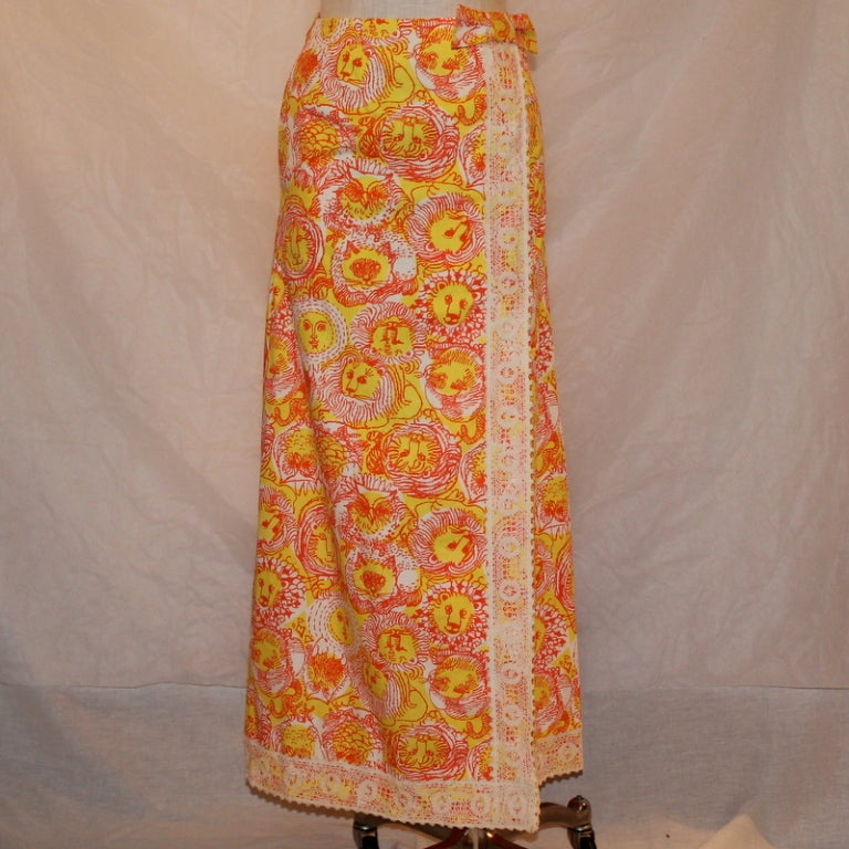 Vintage Lilly Pulitzer cotton orange and yellow long skirt, size 6