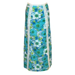 Vintage Lilly Pulitzer Turqouise Long Skirt