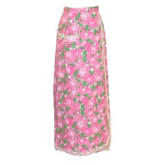 Vintage Lilly Pulitzer Pink/Green Long Pastel Skirt