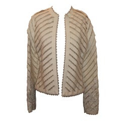 Bill Blass Ivory Lace Brocade Jacket