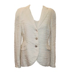 Akris 2 piece Ivory Cotton Blend Top and Jacket